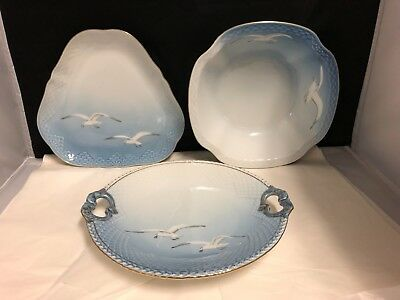 3 Piece Bing And Grondahl- Denmark Seagull Bowl-Triangle Dish And Cake Plate