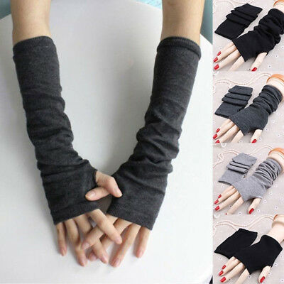 Womens Girls Soft Arm Warmer Knitted Long Fingerless Gloves Half Finger Mittens