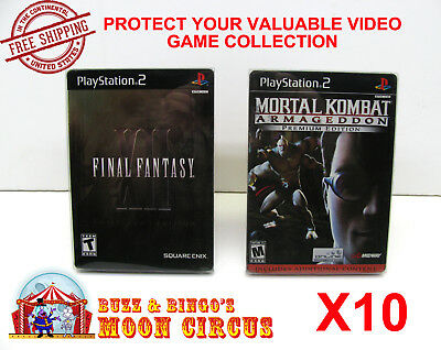 10X Sony Playstation Ps2 Dvd Steelbook Cib Game Clear Protective Box Protectors