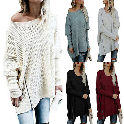 Womens Long Sleeve Sweater Mini Jumper Dress Winter Knitted Baggy Party Fit Top!