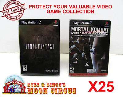 25X Sony Playstation Ps2 Dvd Steelbook Cib Game Clear Protective Box Protectors