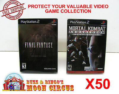 50X Sony Playstation Ps2 Dvd Steelbook Cib Game Clear Protective Box Protectors
