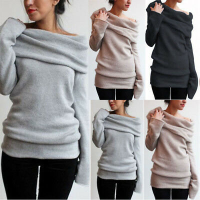 Womens Off the Shoulder Sweatshirts Sweater Winter Warm Pullover Tops Coats USA