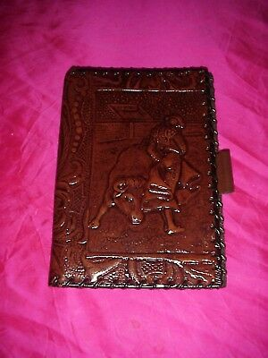 Vintage Unused 1950's Hand Tooled Matador Bull Fight Leather Bi Fold Wallet