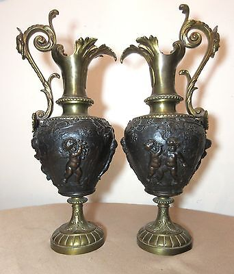 pair large antique Victorian heavy gilt bronze figural cherub ewers urn vase