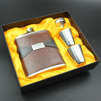 7oz Stainless Steel Hip Flask Wine Tube Whisky Alcohol Drinkware + Funnel + Cups
