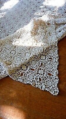 """vintage hand made lace crocheted table cloth cotton ecru 73"""" x 87"""" approx"""