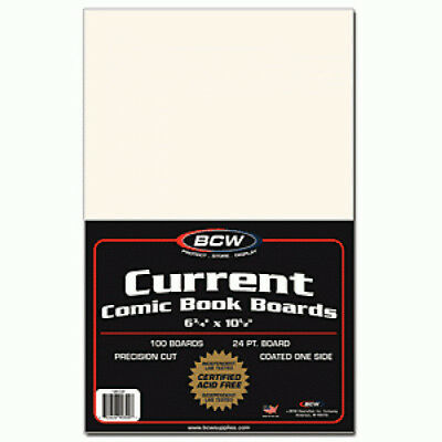(200) Bcw Comic Book Resealable Current 2 Mil Poly Bags & Backing Boards
