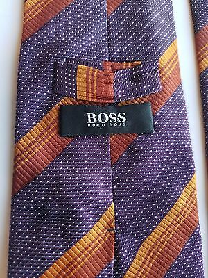 HUGO BOSS MENS 100% SILK NECK TIE MADE IN ITALY Stripe Burgundy Orange EUC