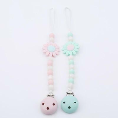Baby Silicone Flowers Teething Toy DIY Beaded Pacifier Holder Chain Clip JJ