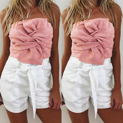 Sexy Women Camisole Sleeveless Tank Top Suede Casual Vest Crop Top Blouse P1B0