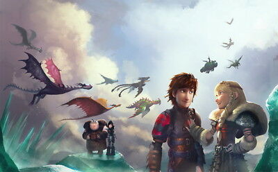 "024 How to Train Your Dragon 3 - The Hidden World Hiccup Movie 38""x24"" Poster"