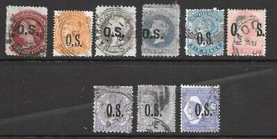 South Australian State 'OS  Stamps  x 9 good used/ fine used 1d to 2/-