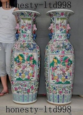 "49""Huge Chinese Wucai porcelain ancient Barrack soldier Bottle Pot Vase Jar pair"