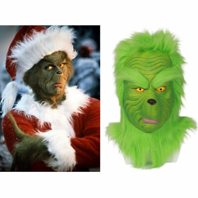 US! Newest Grinch Full Head Mask How the Grinch Stole Christmas Cosplay Props