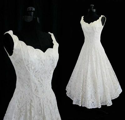 New Whiteivory Tea Length Short Vintage Lace Wedding Dress