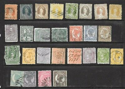 Australia/ Queensland  State Stamps  x 27 good used/ fine used 1/2d to 10/-