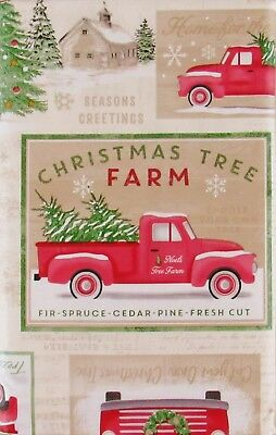 Christmas Tree Farm Collection Vinyl Flannel Back Tablecloth Various Sizes