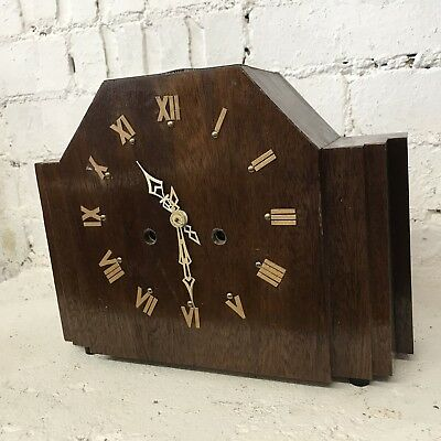 Handsome Art Deco Odeon Style English Mantle Clock - 8 Day Fully Working
