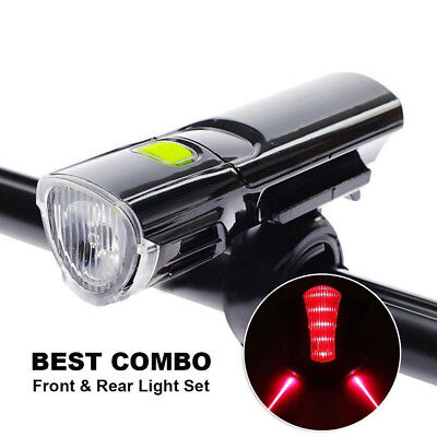 Road Bike Bicycle Cycling Head Front Lights Rear Tail Lamps Set Laser Flashlight