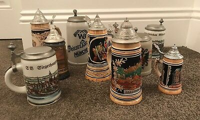 Collection of 10 perfect vintage German Beer stein tankards Black forest Germany
