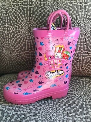 Shopkins Size 10 Toddler Girls rubber Rainboots Pull On Pink New NWT