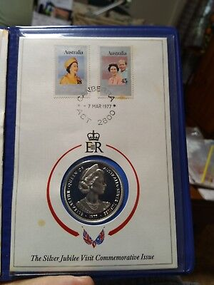 Queen QEII Silver Jubilee Visit 1977 Commemorative Coin Boxed Unopened + Stamps
