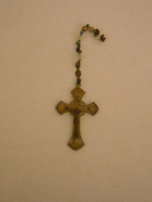 Vintage Crucifix Cross Jesus Christian Metal Rosary Beads Lovely Halo Pattern