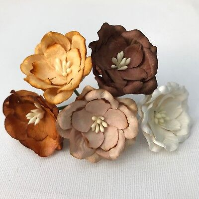5 Big 40mm Magnolia Mulberry Paper Flowers Embellishment Scrapbooking Craft