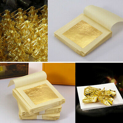 20-100 Sheets Edible Pure 24k Gold Foil Leaf Sheet Food Face Mask SPA Gilding