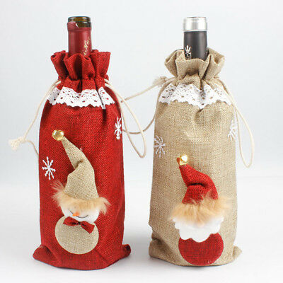Red Wine Bottle Cover Bags Carriers Pouch Christmas Table Home Party Décor Gift