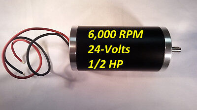 1/2-HP 24-VDC 6000-RPM Electrical-Motor 8mm-Shaft Permanent-Magnet Servo Project