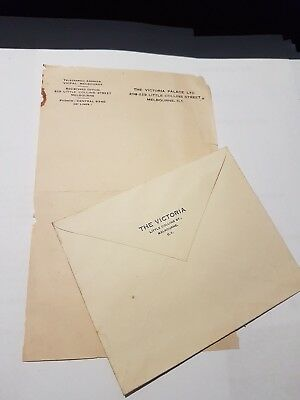 Vintage Stationery  THE VICTORIA PALACE - LITTLE COLLINS ST.  MELBOURNE  - RARE