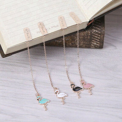 Cute Flamingo Pendant Bookmark Link Chain Book Mark Reading Stationery Supply
