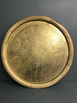 VINTAGE/ANTIQUE EGYPTIAN REVIVAL BRASS TRAY/PLATE/CHARGER 59cm Diameter