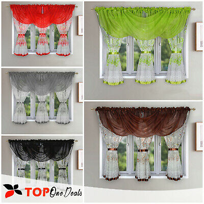 Ready Made Voile Net Curtains with Printed Floral with Swags 600x150cm Modern