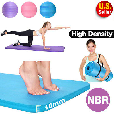 Thick Yoga Mat Pad Nonslip Exercise Fitness Carry Strap Durable Pilates TAX FREE
