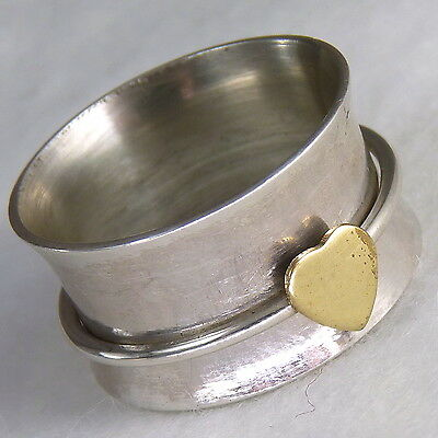 LOVE in Brass SPINNER Size US 5.75 SILVERSARI Ring Solid 925 Stg Silver SPR1011