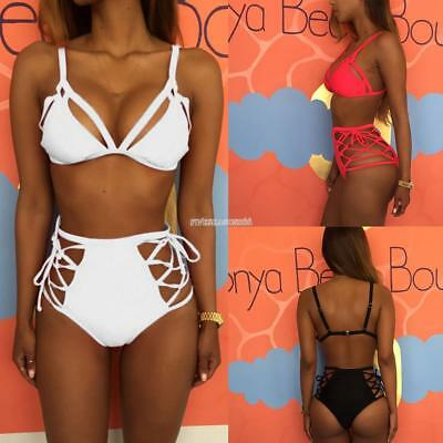 Women Strappy Bikini Set Two Piece Swimwear Lace Up High Waist Bottom ZZ