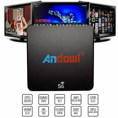 Tv Box Andowl Q-M6 Smart Android 8.1 4K 4Gb Ram 32 Gb Rom Iptv 5G Dual Band