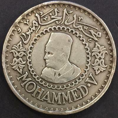 500 Francs Morocco 1956 'Mohammed' Silver Coin