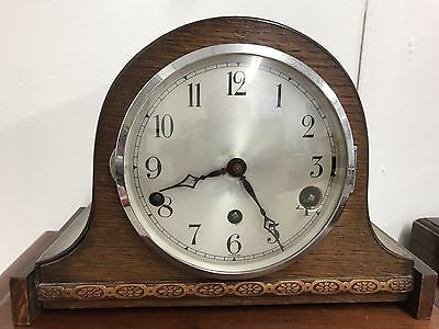 Original Art Deco Striking Oak Mantle Clock