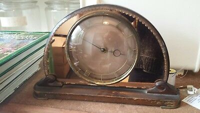 Vintage Rose Glass Smiths Clock Mantle 50s Pink Glass