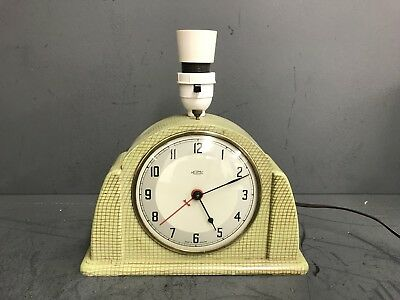 Rare Art Deco Metamec Dereham Electric Mantle Clock Lamp Good Condition