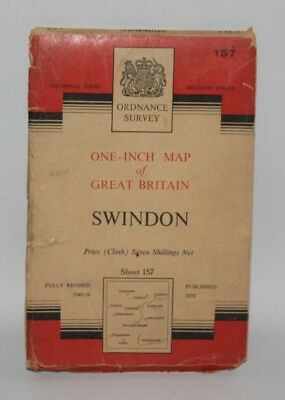 Ordnance Survey - One Inch Cloth Map - Swindon - Sheet 157 - 1958
