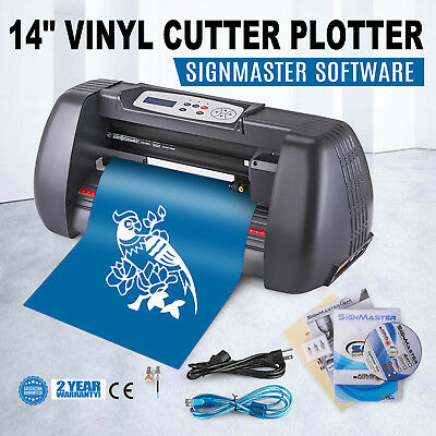 "14"" Vinyl Cutter Sign Plotter Cutting W/ Signmaster Cut Basic Software 3 Blades"