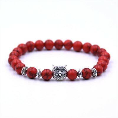 Fashion 8mm Natural Stone Buddha Cross Owl Head Reiki Beaded Stretch Bracelets