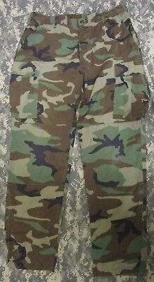 Genuine Us Army M81 Bdu/woodland Camouflage Ripstop Combat Trousers. Large-Long.