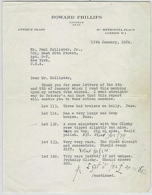 Two 1964 Letters from Antique Glass Paperweight Dealer @ Paul Hollister