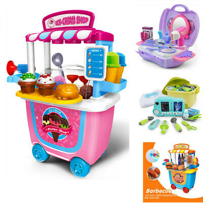 Tools BBQ Ice Cream Cart Shop Toy Pretend Play Set Kids Role Play Fun Toy Set UK